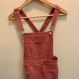 Pale pink corduroy overall dress!